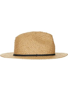 Straw Shorter Brim Fedora - predominant colour: camel; occasions: casual, holiday; type of pattern: light; style: fedora; size: standard; material: macrame/raffia/straw; embellishment: ribbon; pattern: plain