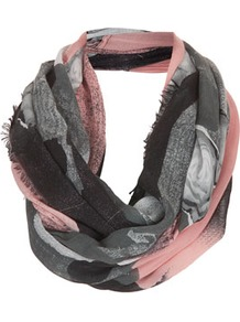 Scrap Book Floral Snood - occasions: casual, evening, work; predominant colour: multicoloured; type of pattern: heavy; style: snood; size: standard; material: fabric; embellishment: fringing; trends: modern geometrics; pattern: patterned/print