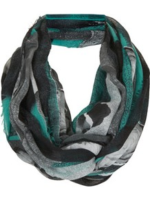 Scrap Book Floral Snood - predominant colour: turquoise; occasions: casual, evening, work, holiday; type of pattern: heavy; style: snood; size: standard; material: fabric; embellishment: fringing; trends: modern geometrics; pattern: patterned/print