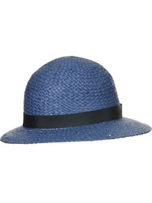 Straw Wide Brim Cloche Hat - predominant colour: denim; occasions: casual, holiday; type of pattern: light; style: cloche; size: standard; material: macrame/raffia/straw; embellishment: ribbon; pattern: plain