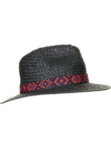 Straw Aztec Band Fedora Hat - predominant colour: black; occasions: casual, holiday; type of pattern: light; style: fedora; size: standard; material: macrame/raffia/straw; embellishment: ribbon; pattern: plain; trends: modern geometrics