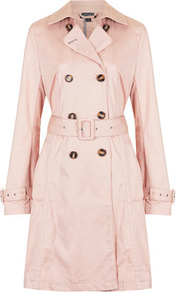 Unlined Seamed Trench Coat - pattern: plain; style: trench coat; length: mid thigh; predominant colour: blush; occasions: casual, evening, work; fit: tailored/fitted; fibres: cotton - 100%; collar: shirt collar/peter pan/zip with opening; waist detail: belted waist/tie at waist/drawstring; sleeve length: long sleeve; sleeve style: standard; texture group: cotton feel fabrics; collar break: high/illusion of break when open; pattern type: fabric; pattern size: standard