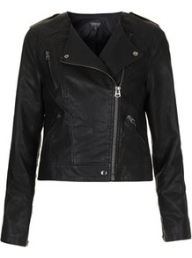 Collarless Biker Jacket - pattern: plain; style: biker; collar: asymmetric biker; fit: slim fit; predominant colour: black; occasions: casual, evening, work; length: standard; fibres: polyester/polyamide - 100%; sleeve length: long sleeve; sleeve style: standard; texture group: leather; collar break: high; pattern type: fabric; pattern size: standard