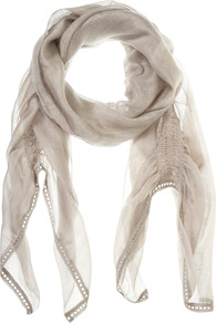 Stone Gauzy Scarf - predominant colour: stone; occasions: casual, work; style: regular; size: standard; pattern: plain; material: tulle/sheer