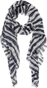 Ameili Print Scarf - predominant colour: navy; occasions: casual, evening, work, holiday; type of pattern: heavy; style: regular; size: standard; material: fabric; trends: striking stripes; pattern: patterned/print