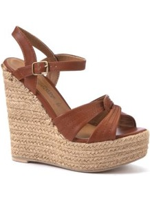 Tan Twisted Strap Woven Wedges - predominant colour: tan; occasions: casual, holiday; material: faux leather; heel height: high; embellishment: buckles; ankle detail: ankle strap; heel: wedge; toe: open toe/peeptoe; style: strappy; finish: plain; pattern: plain