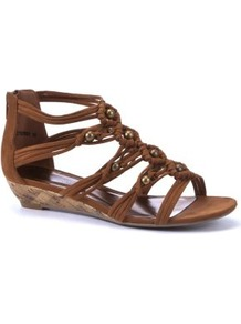 Tan Woven Beaded Low Wedge Sandals - predominant colour: tan; occasions: casual, holiday; material: faux leather; heel height: mid; embellishment: beading; ankle detail: ankle strap; heel: wedge; toe: open toe/peeptoe; style: strappy; finish: plain; pattern: plain