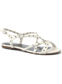 White Stud Strappy Sandals - predominant colour: white; occasions: casual, holiday; material: faux leather; heel height: flat; embellishment: studs; ankle detail: ankle strap; heel: standard; toe: open toe/peeptoe; style: strappy; finish: plain; pattern: plain