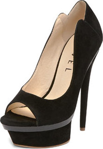 Black Stilleto Heel Shoe - predominant colour: black; occasions: evening, occasion; material: suede; heel height: high; heel: platform; toe: open toe/peeptoe; style: courts; finish: plain; pattern: plain