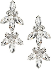 Sparkle Stone Flower Earrings - predominant colour: silver; occasions: evening, occasion; style: drop; length: mid; size: standard; material: chain/metal; fastening: pierced; finish: metallic; embellishment: crystals