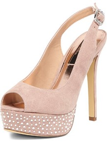 Dp Occasion Nude Gem Slingback Platforms - predominant colour: nude; occasions: evening, occasion; material: fabric; heel height: high; embellishment: crystals; heel: platform; toe: open toe/peeptoe; style: slingbacks; finish: plain; pattern: plain