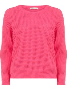 Flouro Pink Fisherman Knit Jumper - pattern: plain; style: standard; predominant colour: pink; occasions: casual, work; length: standard; fibres: acrylic - 100%; fit: standard fit; neckline: crew; sleeve length: long sleeve; sleeve style: standard; texture group: knits/crochet