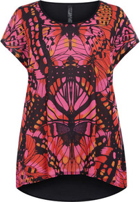 Red &amp; Pink Butterfly Front Print Top - neckline: round neck; length: below the bottom; style: t-shirt; predominant colour: hot pink; occasions: casual, evening; fibres: polyester/polyamide - 100%; fit: loose; back detail: longer hem at back than at front; sleeve length: short sleeve; sleeve style: standard; pattern type: fabric; pattern size: standard; pattern: patterned/print; texture group: jersey - stretchy/drapey