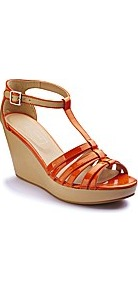 T Bar Wedge D Fit - predominant colour: bright orange; occasions: casual, holiday; material: faux leather; heel height: high; embellishment: buckles; ankle detail: ankle strap; heel: wedge; toe: open toe/peeptoe; style: strappy; finish: patent; pattern: plain