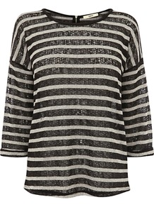 Stripe Zip Top, Black/White - neckline: round neck; pattern: striped; predominant colour: black; occasions: casual; length: standard; style: top; fibres: polyester/polyamide - mix; fit: straight cut; sleeve length: 3/4 length; sleeve style: standard; pattern type: fabric; pattern size: standard; texture group: jersey - stretchy/drapey; embellishment: sequins