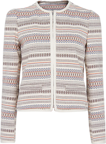 Jacquard Jacket, Natural - pattern: horizontal stripes; collar: round collar/collarless; style: boxy; predominant colour: stone; occasions: casual, evening, work, occasion; length: standard; fit: straight cut (boxy); fibres: cotton - 100%; sleeve length: long sleeve; sleeve style: standard; collar break: high; pattern type: fabric; pattern size: standard; texture group: brocade/jacquard