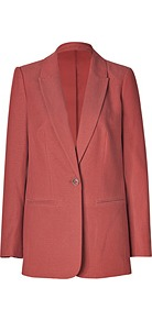 Terracotta Woven Tencel Cotton Chase Blazer - pattern: plain; style: single breasted blazer; length: below the bottom; collar: standard lapel/rever collar; predominant colour: terracotta; occasions: casual, work; fit: straight cut (boxy); fibres: cotton - mix; sleeve length: long sleeve; sleeve style: standard; trends: tuxedo; collar break: low/open; pattern type: fabric; texture group: woven light midweight