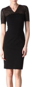Cut Out Detail Dress - style: shift; neckline: v-neck; fit: tailored/fitted; pattern: plain; waist detail: fitted waist; predominant colour: black; occasions: evening, work; length: just above the knee; fibres: silk - mix; bust detail: contrast pattern/fabric/detail at bust; sleeve length: short sleeve; sleeve style: standard; texture group: lace; pattern type: fabric; embellishment: embroidered