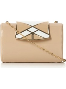 Nude Patent Binky Enamel Clasp Clutch Bag - predominant colour: nude; occasions: evening, occasion; type of pattern: light; style: clutch; length: hand carry; size: small; material: leather; pattern: plain; finish: patent