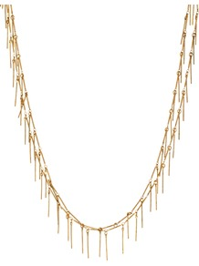 2 Row Delicate Necklace - predominant colour: gold; occasions: casual, evening, work; style: multistrand; length: long; size: small; material: chain/metal; finish: metallic; embellishment: chain/metal