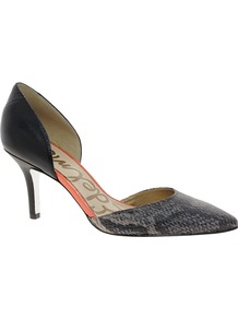 Opal Black Heeled Shoes - predominant colour: black; occasions: evening, work; material: leather; heel height: high; heel: stiletto; toe: pointed toe; style: courts; finish: plain; pattern: animal print