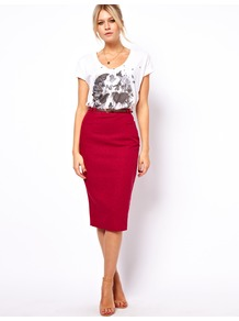 Linen Pencil Skirt With Belt - length: below the knee; pattern: plain; style: pencil; fit: tailored/fitted; waist: high rise; hip detail: fitted at hip; waist detail: belted waist/tie at waist/drawstring; predominant colour: true red; occasions: casual, evening, work; fibres: linen - mix; texture group: cotton feel fabrics; pattern type: fabric