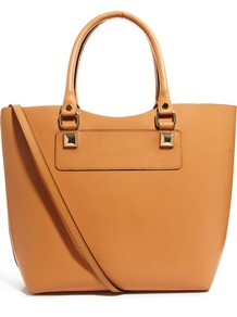 Hard Leather Tote - predominant colour: tan; occasions: casual, work; style: tote; length: handle; size: oversized; material: leather; pattern: plain; finish: plain