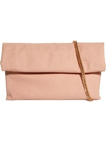 Roll Fold Oversized Clutch - predominant colour: nude; occasions: evening; type of pattern: standard; style: clutch; length: hand carry; size: small; material: faux leather; pattern: plain; finish: plain; embellishment: chain/metal