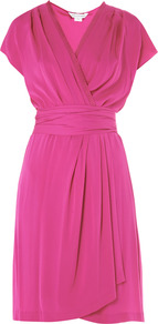 Mateo Dress - style: faux wrap/wrap; neckline: v-neck; sleeve style: capped; pattern: plain; waist detail: wide waistband/cummerbund; bust detail: ruching/gathering/draping/layers/pintuck pleats at bust; predominant colour: hot pink; occasions: evening, occasion; length: just above the knee; fit: body skimming; fibres: silk - mix; sleeve length: short sleeve; texture group: silky - light; pattern type: fabric