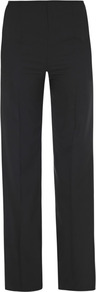 High Waisted Boot Cut Trousers - pattern: plain; waist: high rise; length: extra long; predominant colour: black; occasions: casual, evening, work; fibres: wool - mix; fit: bootcut; pattern type: fabric; texture group: woven light midweight; style: standard