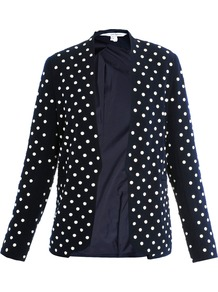 Paulette Jacket - style: single breasted blazer; collar: shawl/waterfall; pattern: polka dot; predominant colour: navy; occasions: evening, work, occasion; length: standard; fit: tailored/fitted; fibres: polyester/polyamide - 100%; sleeve length: long sleeve; sleeve style: standard; trends: tuxedo; collar break: low/open; pattern type: fabric; pattern size: small & busy; texture group: other - light to midweight