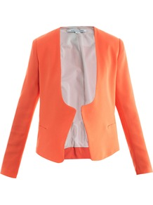 Feriha Jacket - pattern: plain; style: single breasted blazer; collar: standard lapel/rever collar; predominant colour: bright orange; occasions: casual, evening, work, occasion; length: standard; fit: tailored/fitted; fibres: polyester/polyamide - 100%; sleeve length: long sleeve; sleeve style: standard; trends: tuxedo; collar break: low/open; pattern type: fabric; pattern size: standard; texture group: woven light midweight