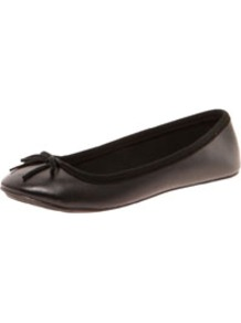 Sarah Leather Look Ballet Pumps - predominant colour: black; occasions: casual, work; material: faux leather; heel height: flat; toe: round toe; style: ballerinas / pumps; finish: plain; pattern: plain; embellishment: bow