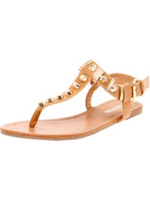 Harper Stud And Rivet Toe Post Gladiator - predominant colour: camel; occasions: casual, evening, holiday; material: faux leather; heel height: flat; embellishment: studs; ankle detail: ankle strap; heel: standard; toe: toe thongs; style: gladiators; trends: metallics; finish: plain; pattern: plain