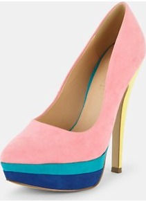 Kent Colour Block Point Platform Pink Shoes, Yellow - predominant colour: pink; occasions: evening, occasion; material: fabric; heel height: high; heel: platform; toe: pointed toe; style: courts; finish: plain; pattern: colourblock