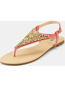 Hilton Toepost Sandals, Coral - predominant colour: coral; occasions: casual, evening, holiday; material: faux leather; heel height: flat; embellishment: beading; heel: standard; toe: toe thongs; style: flip flops / toe post; finish: plain; pattern: plain