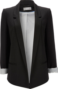 Black Blazer - pattern: plain; style: single breasted blazer; length: below the bottom; collar: standard lapel/rever collar; predominant colour: black; occasions: casual, evening, work; fit: tailored/fitted; fibres: polyester/polyamide - stretch; sleeve length: long sleeve; sleeve style: standard; texture group: cotton feel fabrics; collar break: low/open; pattern type: fabric