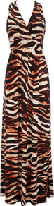 Brown Animal Print Maxi Dress - neckline: low v-neck; fit: fitted at waist; sleeve style: sleeveless; style: maxi dress; length: ankle length; waist detail: fitted waist; predominant colour: chocolate brown; occasions: casual, evening, holiday; fibres: polyester/polyamide - mix; sleeve length: sleeveless; pattern type: fabric; pattern size: big & busy; pattern: animal print; texture group: jersey - stretchy/drapey