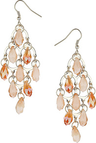 Diamond Facet Chandelier Earrings - predominant colour: nude; occasions: evening, occasion; style: chandelier; length: long; size: large/oversized; material: chain/metal; fastening: pierced; finish: metallic; embellishment: crystals