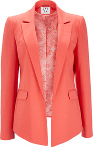 Coral Jacket - pattern: plain; style: single breasted blazer; collar: wide lapels; length: below the bottom; predominant colour: coral; occasions: casual, evening, work, occasion; fit: tailored/fitted; fibres: polyester/polyamide - stretch; sleeve length: long sleeve; sleeve style: standard; collar break: low/open; pattern type: fabric; pattern size: standard; texture group: woven light midweight
