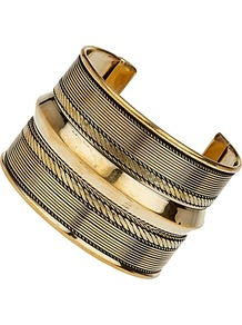 Patterned Antique Gold Cuff - predominant colour: gold; occasions: casual, evening, work, occasion, holiday; style: cuff; size: large/oversized; material: chain/metal; finish: metallic; embellishment: chain/metal