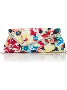 Satin Clutch Bag - occasions: evening, occasion, holiday; predominant colour: multicoloured; type of pattern: standard; style: clutch; length: hand carry; size: standard; material: satin; pattern: florals; trends: high impact florals; finish: plain; embellishment: chain/metal
