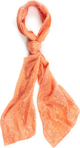 Coral Sequin Scarf - predominant colour: coral; occasions: casual, evening, work; type of pattern: small; style: regular; size: standard; material: fabric; embellishment: sequins; pattern: plain