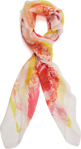 Ivory Floral Print Scarf - predominant colour: ivory; occasions: casual, evening, work; type of pattern: standard; style: regular; size: standard; material: fabric; pattern: florals