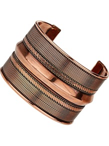 Copper Cuff Bracelet - predominant colour: gold; occasions: casual, evening, work, occasion, holiday; style: cuff; size: large/oversized; material: chain/metal; finish: metallic