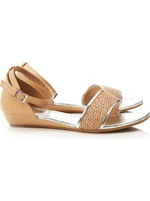Cream Wedge Shoe - predominant colour: camel; occasions: casual, holiday; material: macrame/raffia/straw; heel height: mid; ankle detail: ankle strap; heel: wedge; toe: open toe/peeptoe; style: standard; finish: plain; pattern: plain