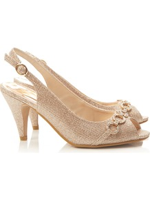 Gold Mid Heel Sandal - predominant colour: gold; occasions: evening, occasion; material: faux leather; heel height: mid; heel: cone; toe: open toe/peeptoe; style: slingbacks; trends: metallics; finish: metallic; pattern: animal print; embellishment: chain/metal