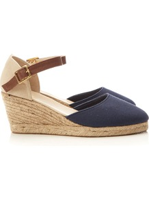 Navy Wedge Espadrille - predominant colour: navy; occasions: casual, holiday; material: fabric; heel height: mid; embellishment: buckles; ankle detail: ankle strap; heel: wedge; style: standard; finish: plain; pattern: colourblock
