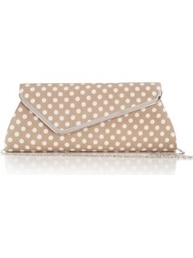 Mink Polka Dot Clutch Bag - predominant colour: taupe; occasions: evening, occasion, holiday; type of pattern: standard; style: clutch; length: hand carry; size: small; material: fabric; pattern: polka dot; trends: metallics; finish: plain; embellishment: chain/metal