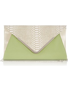 Green Snake Print Clutch Bag - predominant colour: pistachio; occasions: evening, occasion; type of pattern: light; style: clutch; length: hand carry; size: small; material: faux leather; pattern: animal print; finish: plain; embellishment: chain/metal